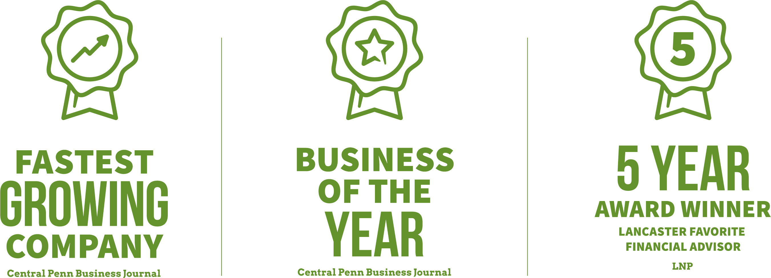 Fastest Growing Company, Business of the Year, and 5 Year Lancaster Favorite Financial Advisor Awards by Central Penn Business Journal and LNP