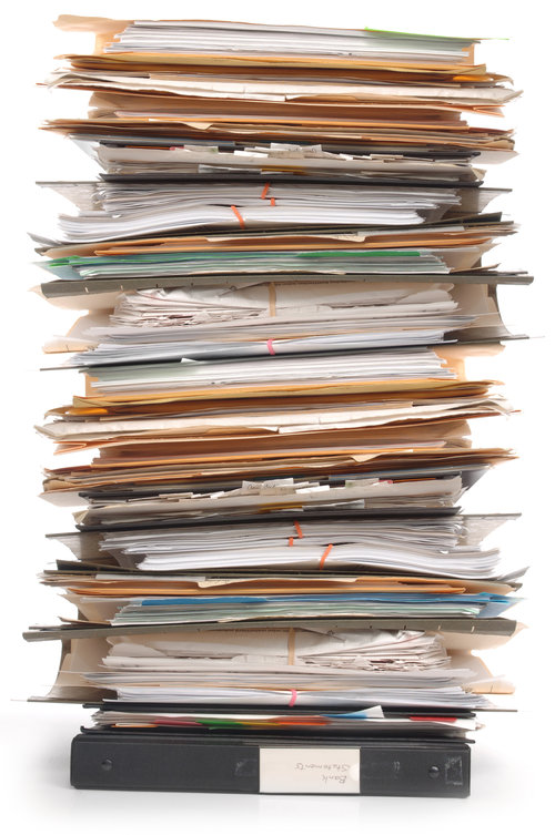 Pile of Messy Financial Tax Documents