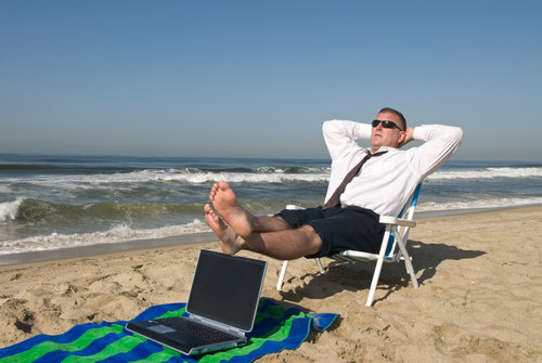 Financial Advisor Relaxing Beachside