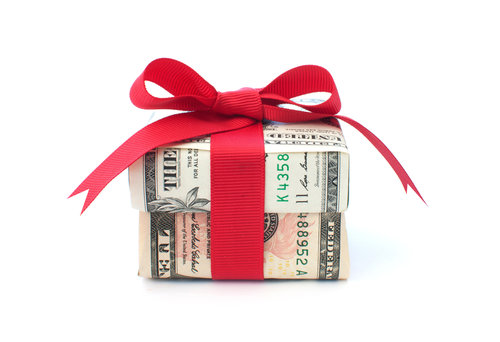 Money Wrapped Up In A Bow For A Gift
