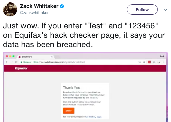 Equifax Hack Checker Page Tweet