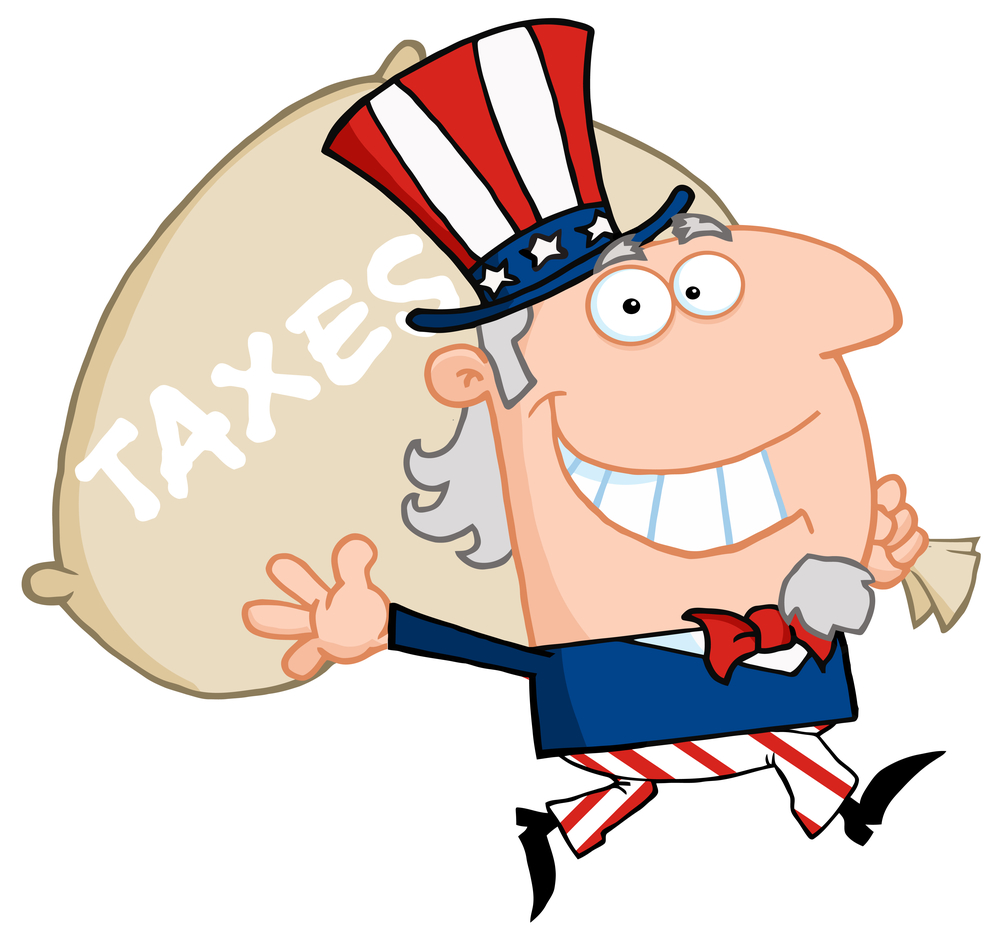 Uncle Sam Holding A Bag With Taxes  Written On It