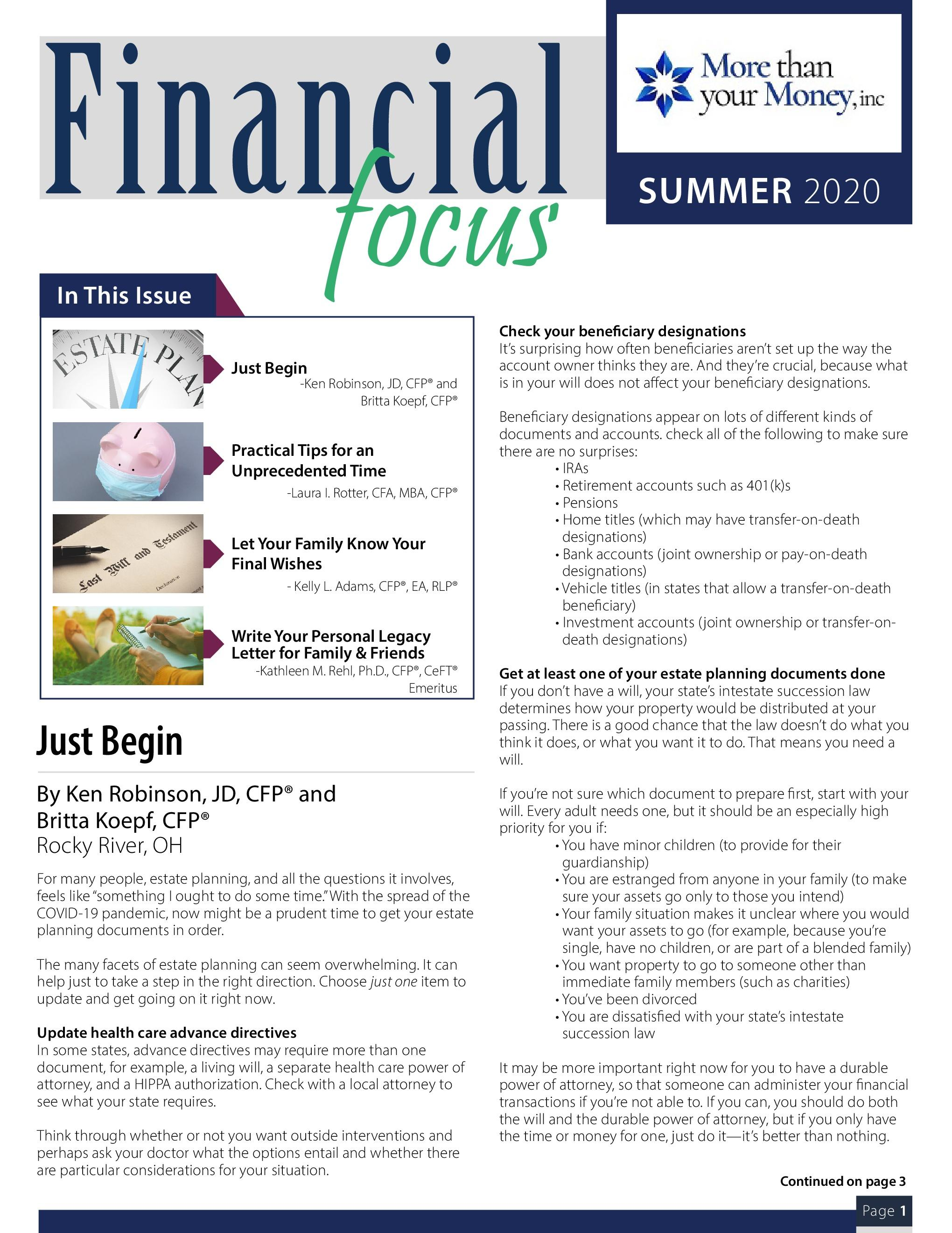 Financial Focus Summer 2020 Thumbnail