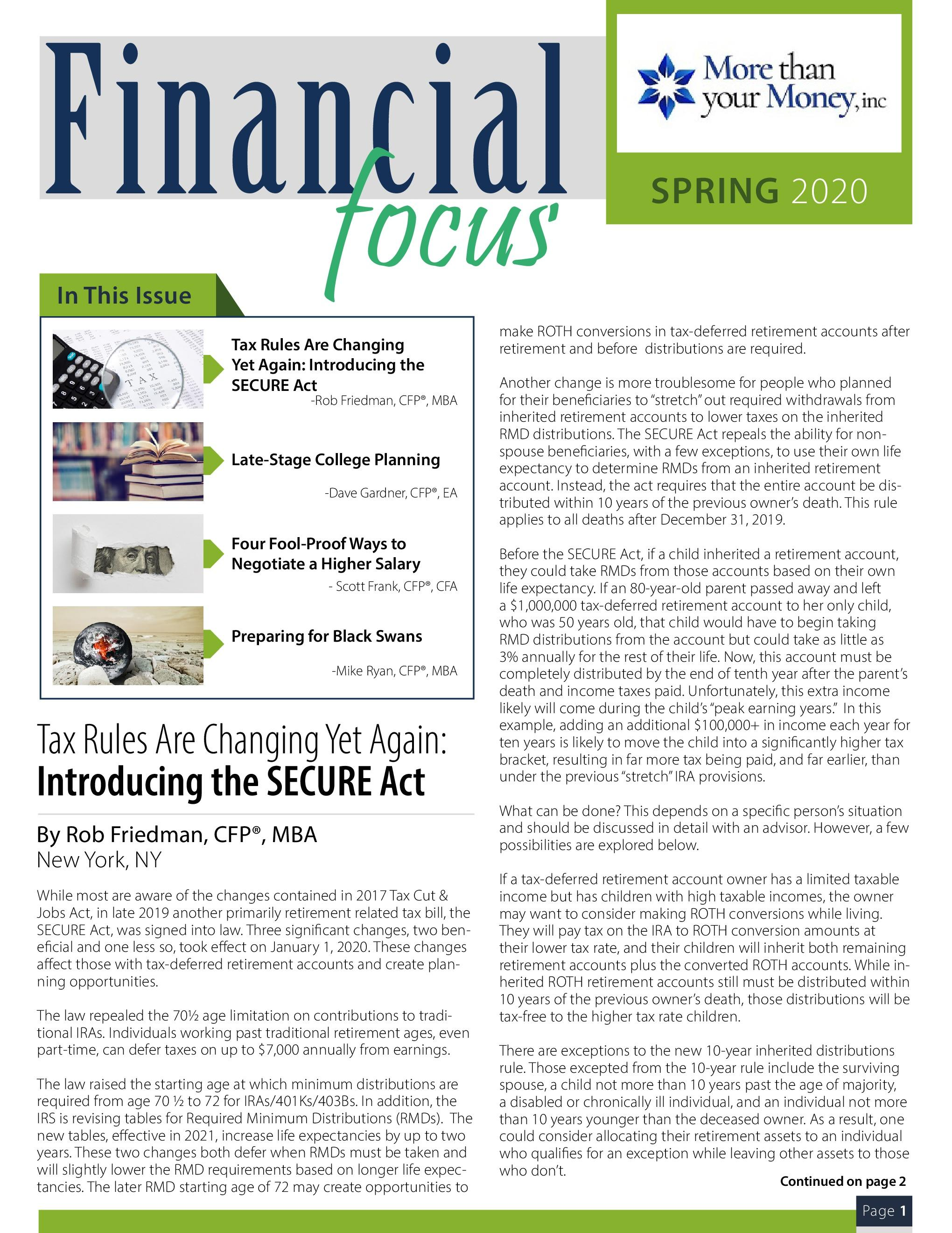 Financial Focus Spring 2020 Thumbnail