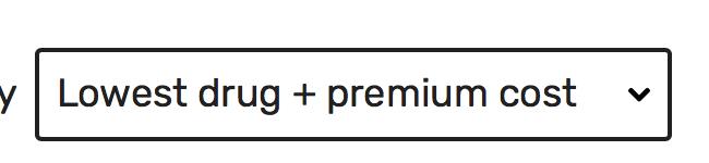 Lowest drug + premium cost