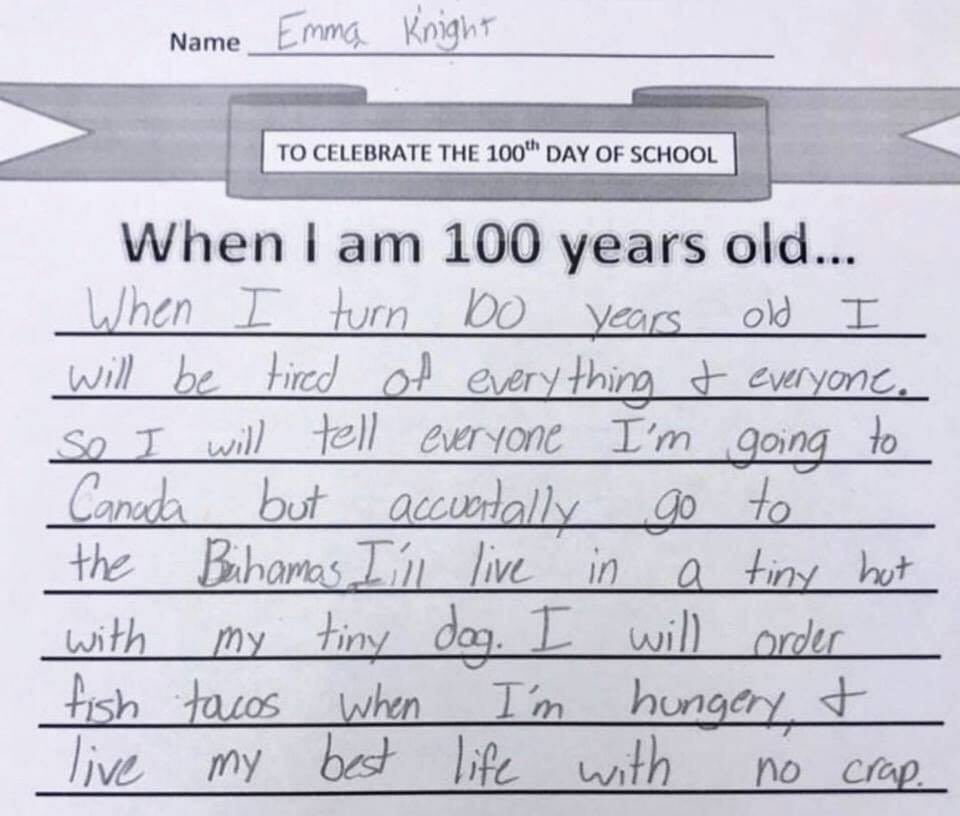 Paper from Emma Knight on what she will do when she turns 100