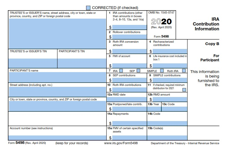IRS Tax Form 5498 (revised April 2020)