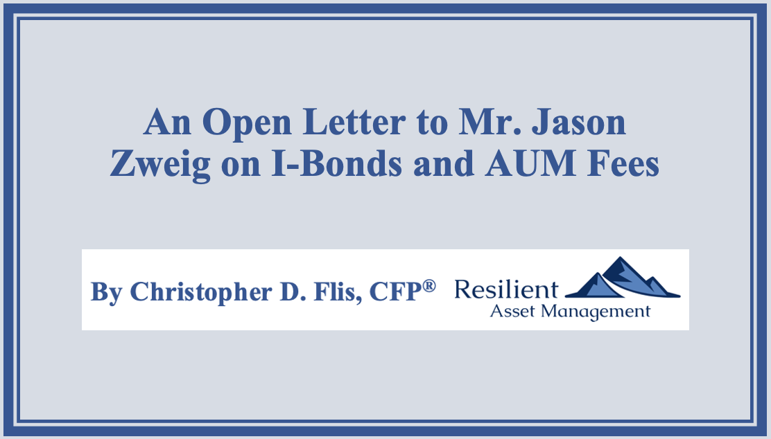 An Open Letter to Mr. Jason Zweig about I-Bonds and AUM Fees Thumbnail
