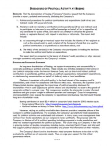 Shareholder proposal to the Boeing Company on disclosure of political expenditures Thumbnail