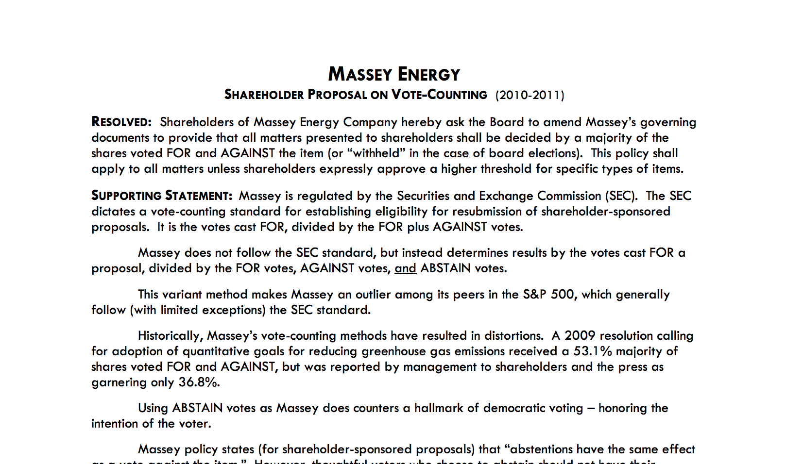 Shareholder proposal to Massey on fair vote-counting and shareholder democracy Thumbnail