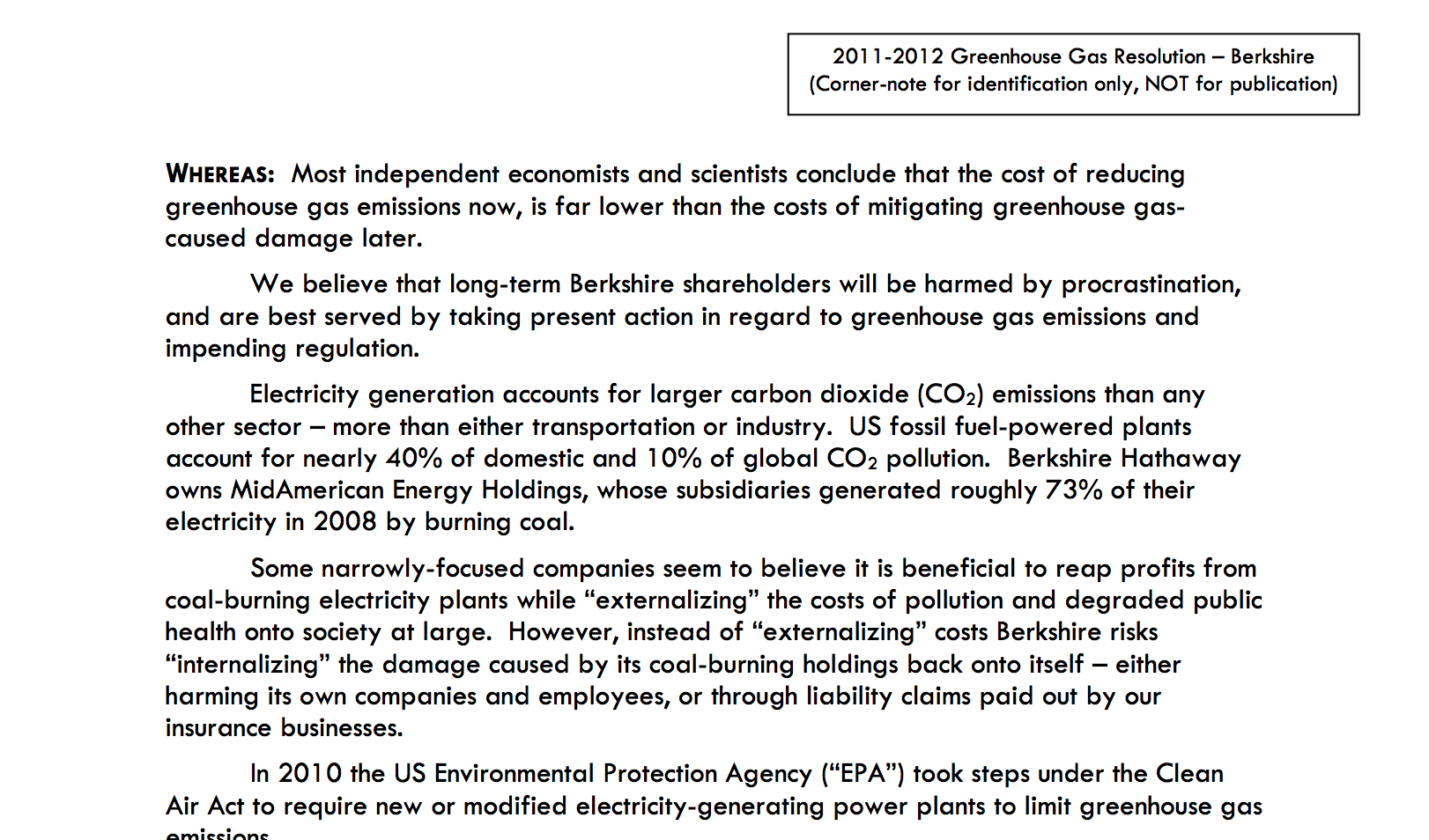 Shareholder proposal to Berkshire Hathaway on reducing greenhouse gas emissions Thumbnail