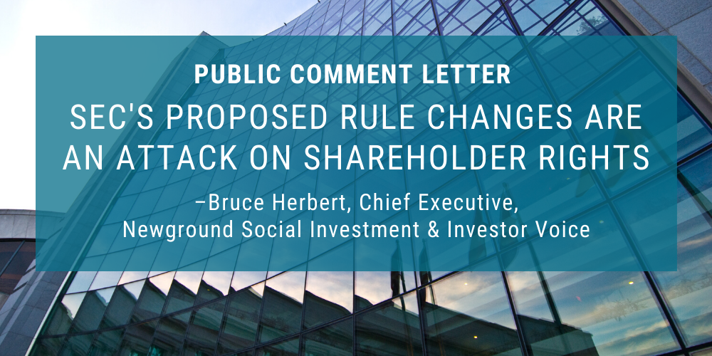 Public Comment Letter Opposing SEC's Proposed Restriction of Shareholder Rights Thumbnail