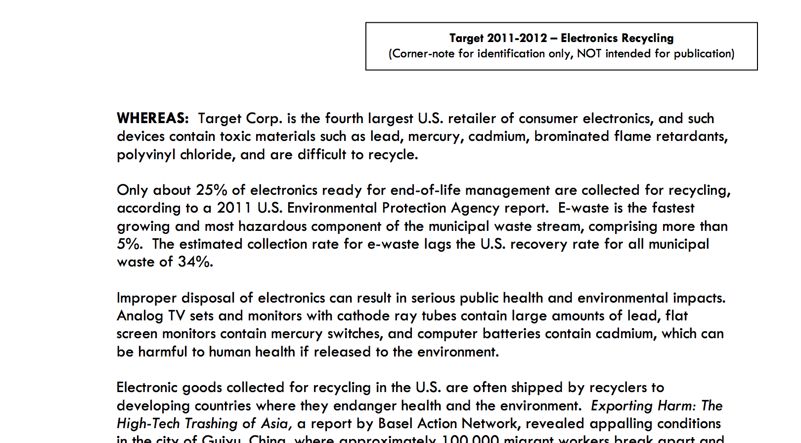 Shareholder proposal to Target on the recycling of electronic waste Thumbnail