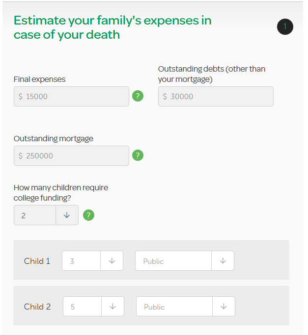 estimate family expenses in case of death