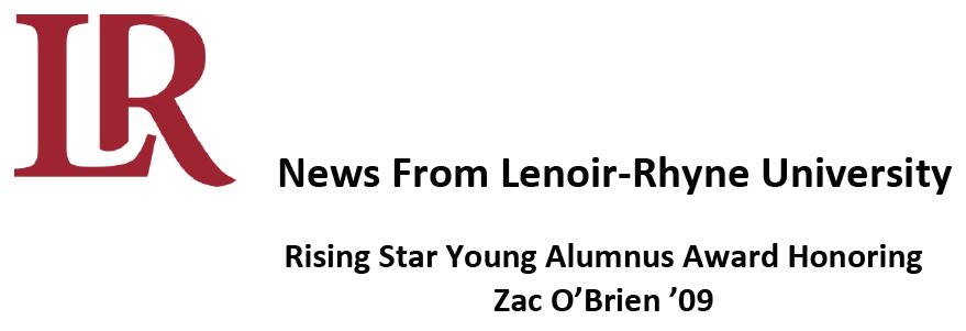 CWG News: Zac O'Brien receives the 2020 Lenoir-Rhyne University Rising Star Young Alumnus Award Thumbnail