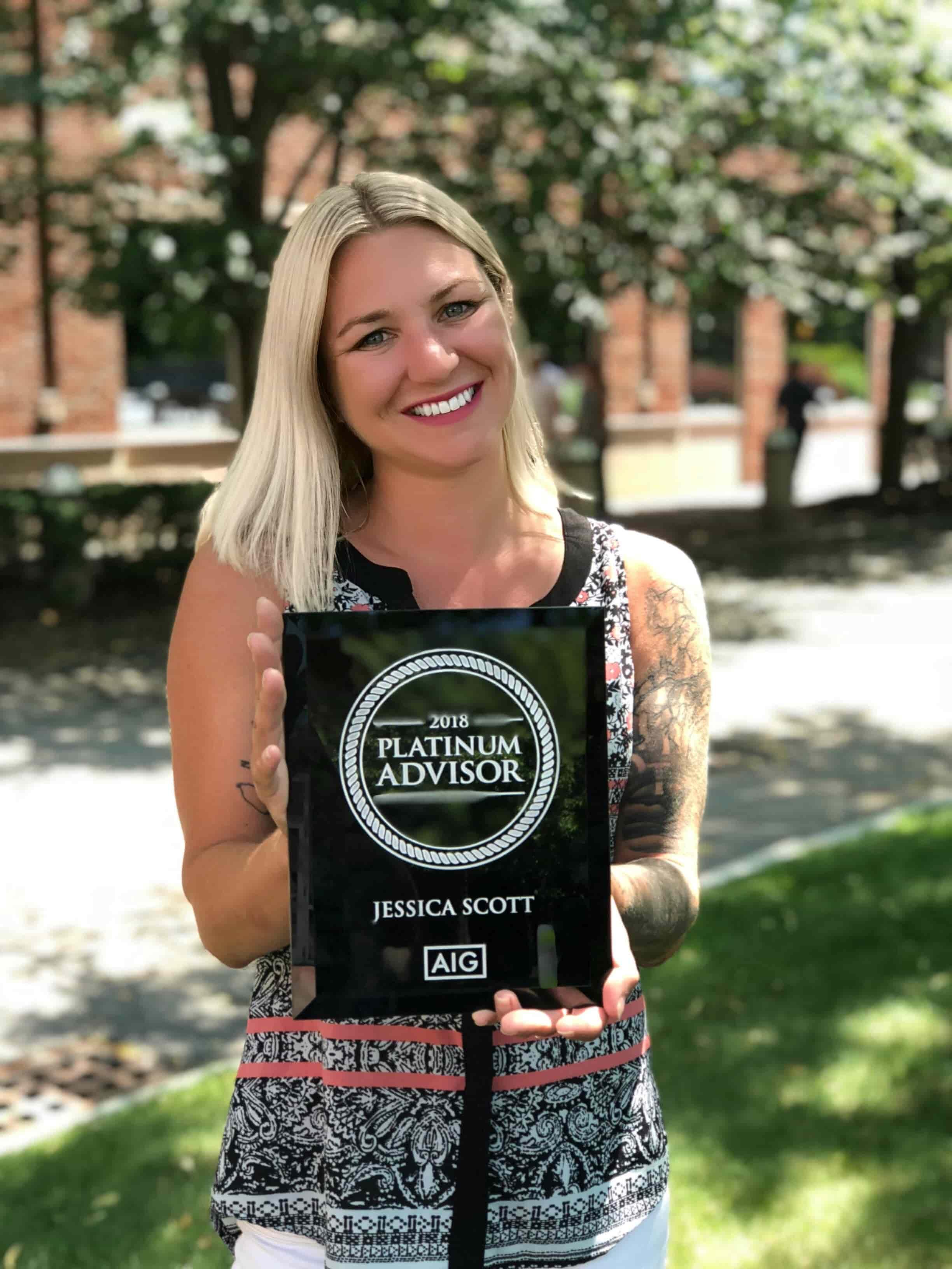 Jessica was recognized as an AIG 2018 Platinum Advisor