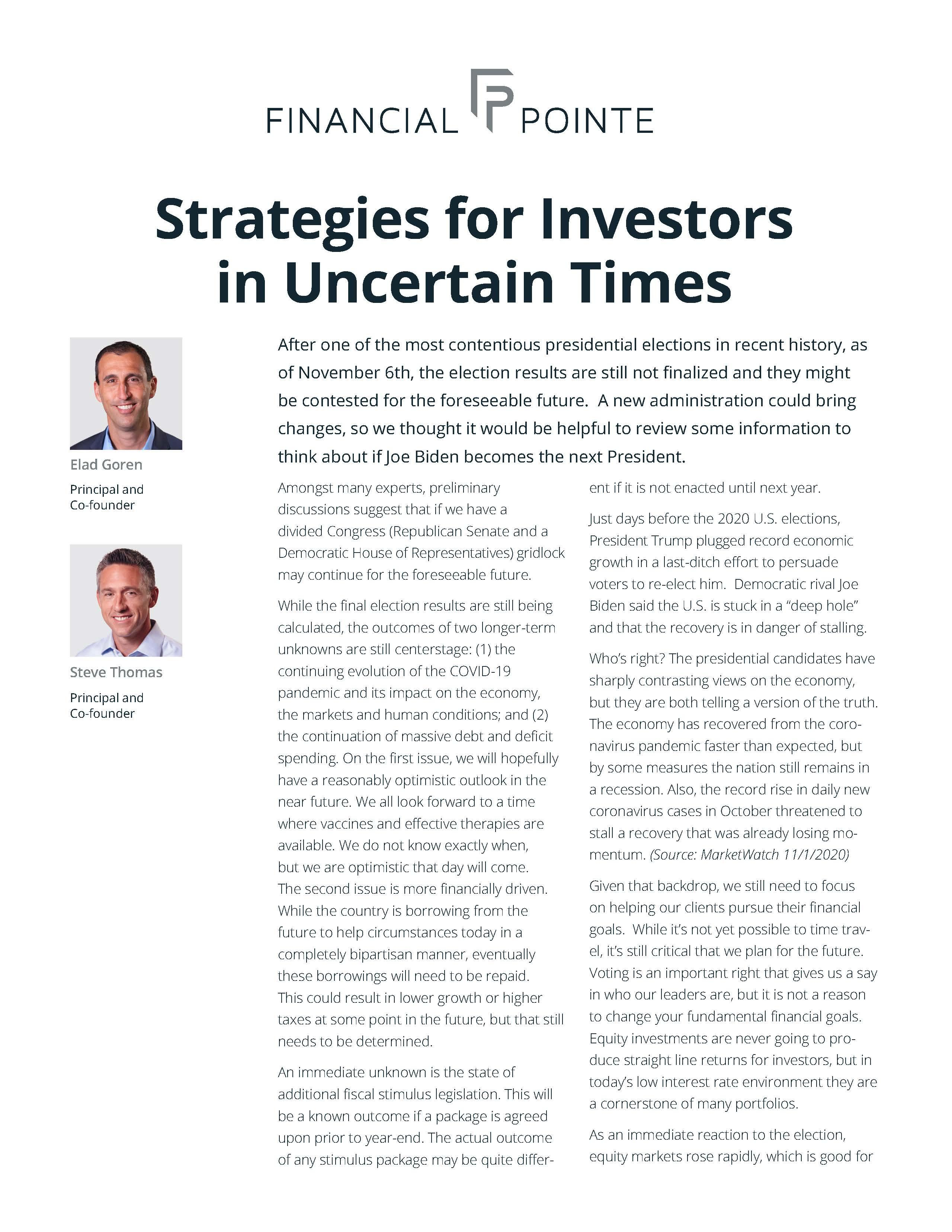 Strategies for Investors in Uncertain Times Thumbnail