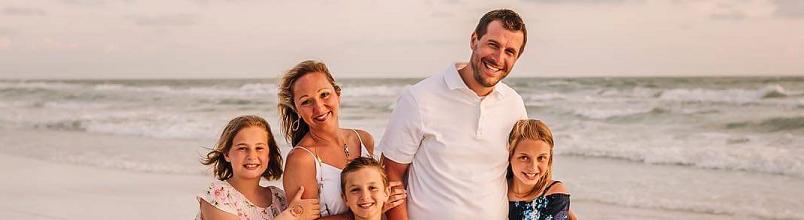 Greg's family on the beach