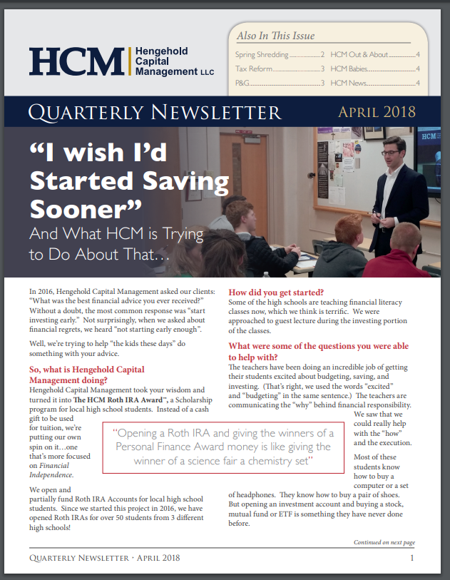 2018 April Quarterly Newsletter Thumbnail