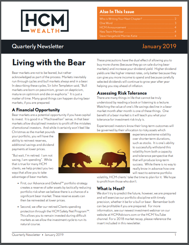 2019 January Quarterly Newsletter Thumbnail