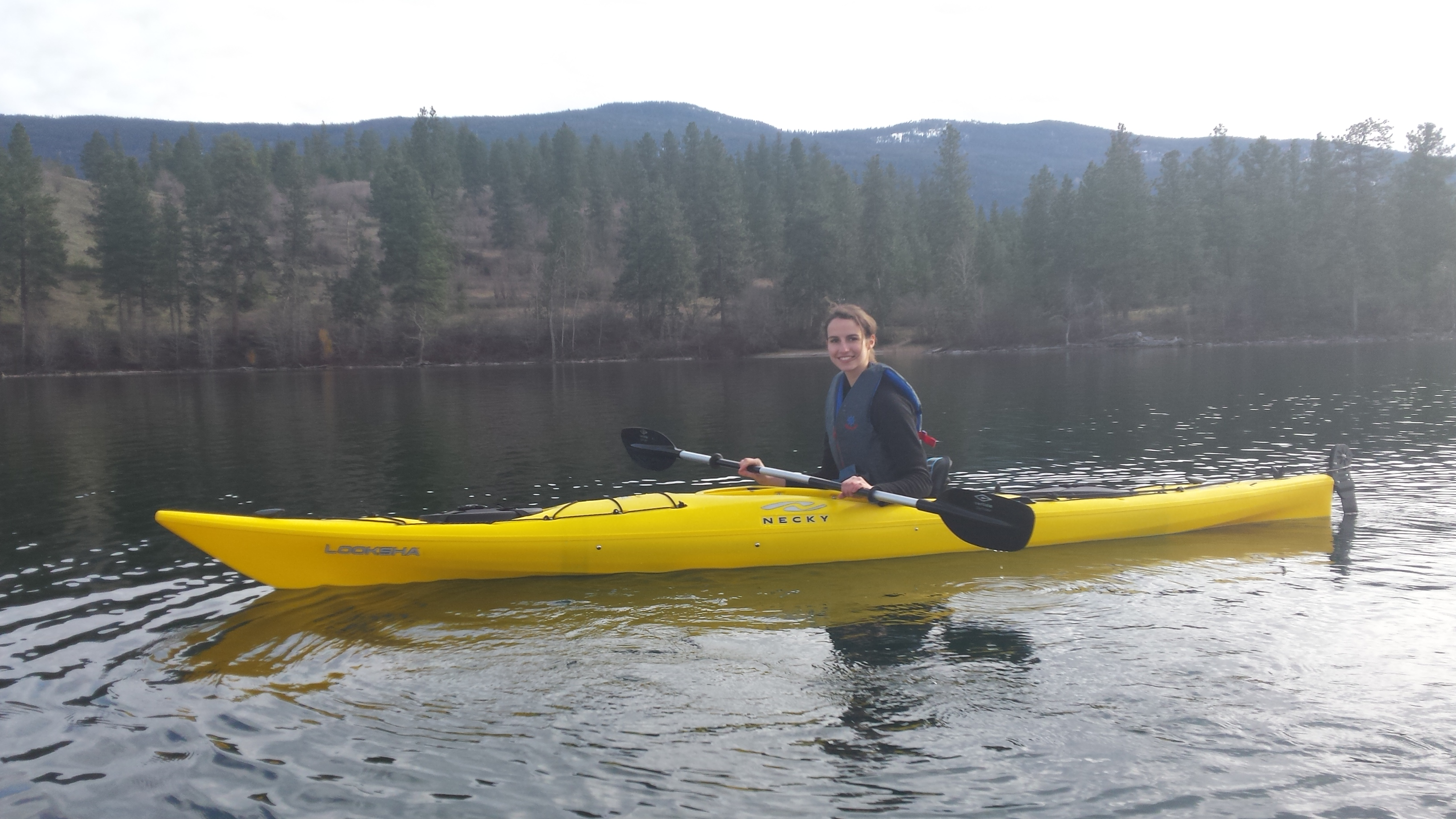 Alida out in her kayak, enjoying the outdoors.