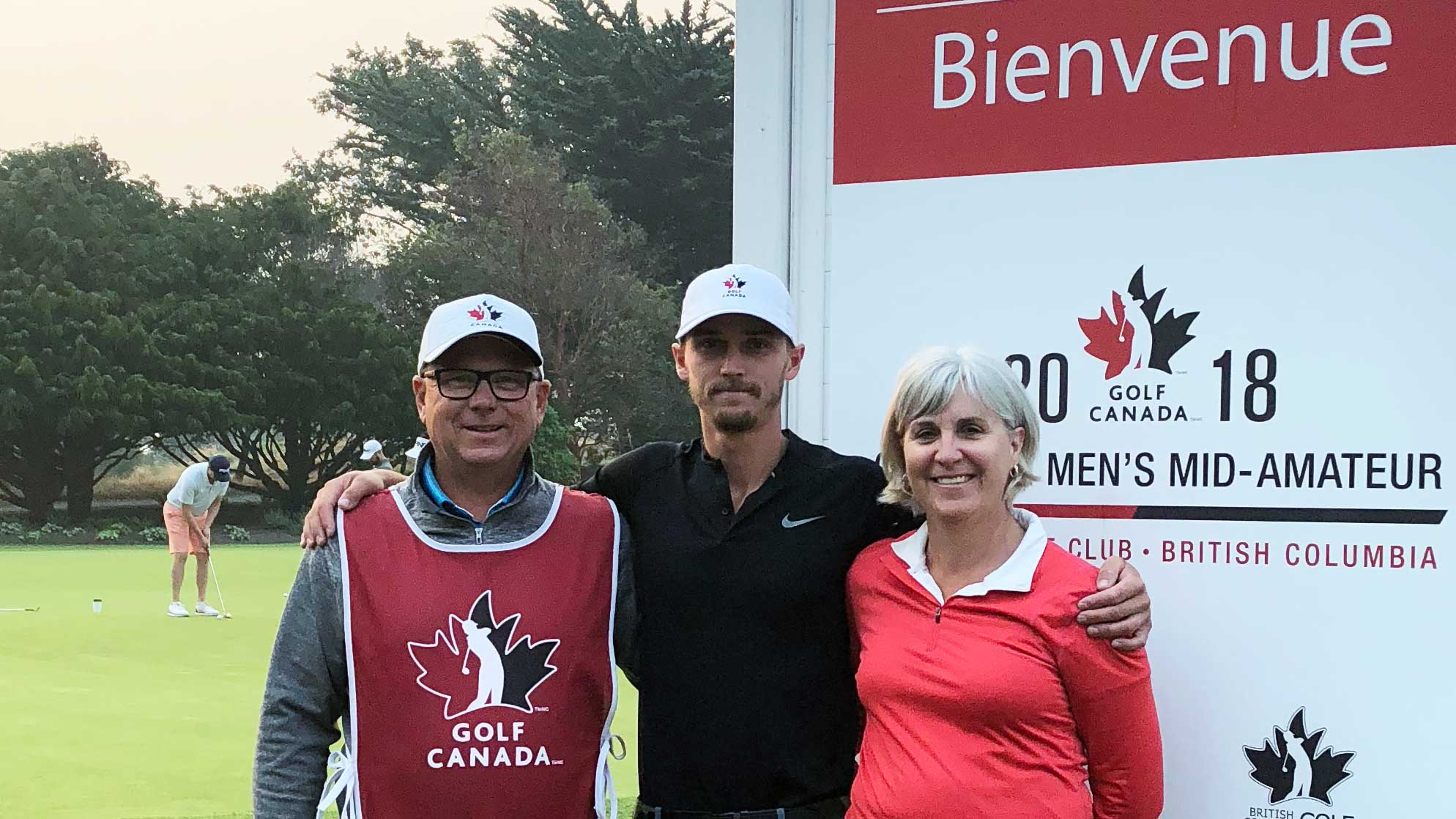 Brent, Colleen, and their son at the Canadian Men's Mid-Amateur Championship in Victoria, BC.