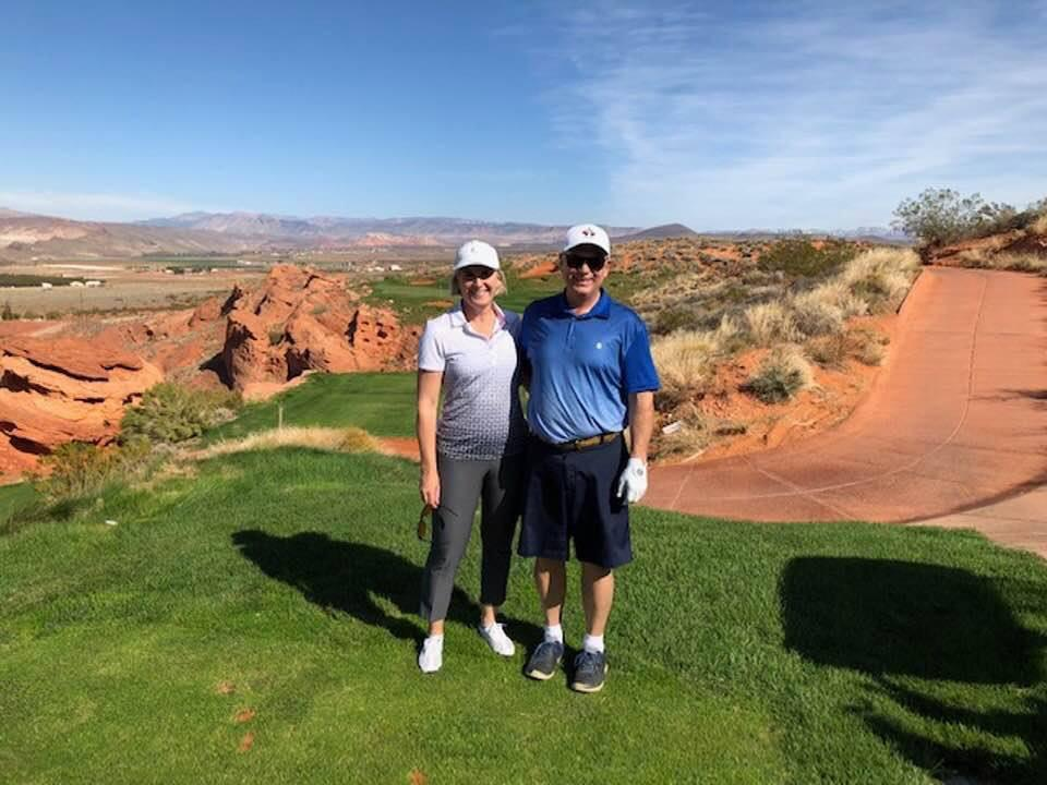 Colleen and Brent, golfing in Arizona.