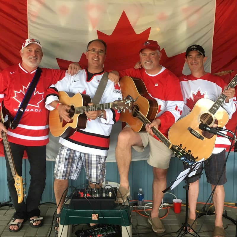 Chris Odd and his bandmates at a Canada Day concert.