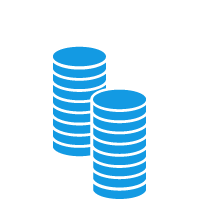 Two large stacks of coins
