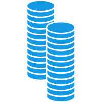 Two extra large stacks of coins