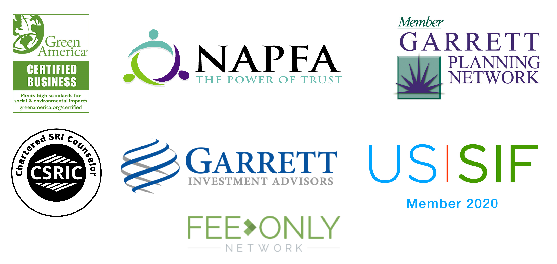 Affilation logos: NAPFA, Garrett Planning Network, USSIF, etc.