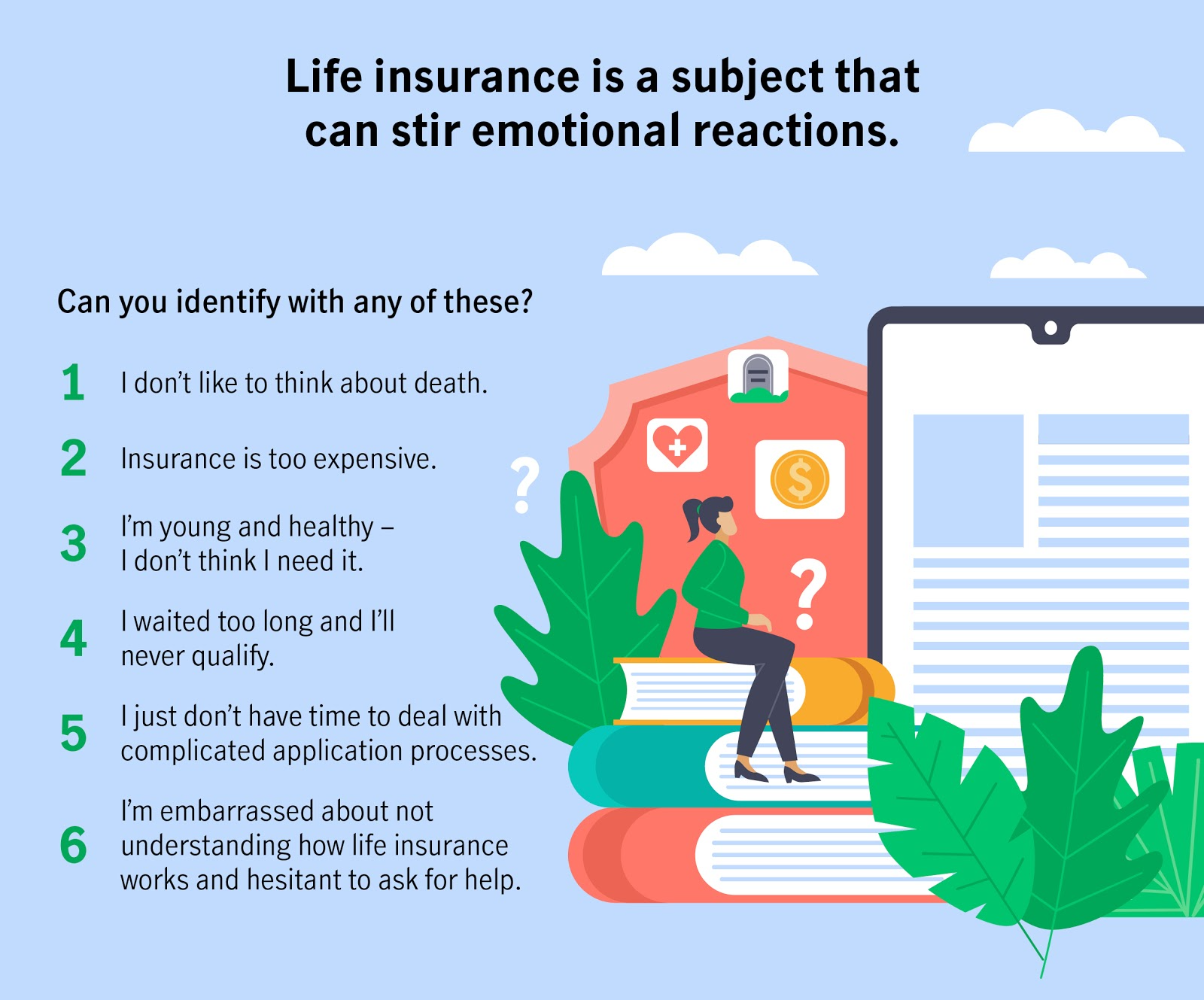Life insurance is a subject that can stir emotional reactions. Can you identify with any of these statements?  I don't like to think about death. Insurance is too expensive. I'm young and healthy – I don't think I need it. I waited too long and I'll never qualify. I just don't have time to deal with complicated application processes. I'm embarrassed about not understanding how life insurance works and hesitant to ask for help.