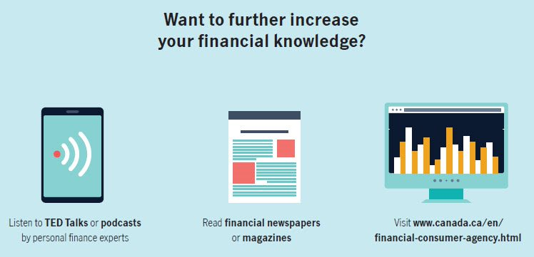 Want to further increase your financial knowledge? Listen to TED Talks or podcasts by personal finance experts. Read financial newspapers or magazines. Visit www.canada.com/en/financial-consumer-agency.html