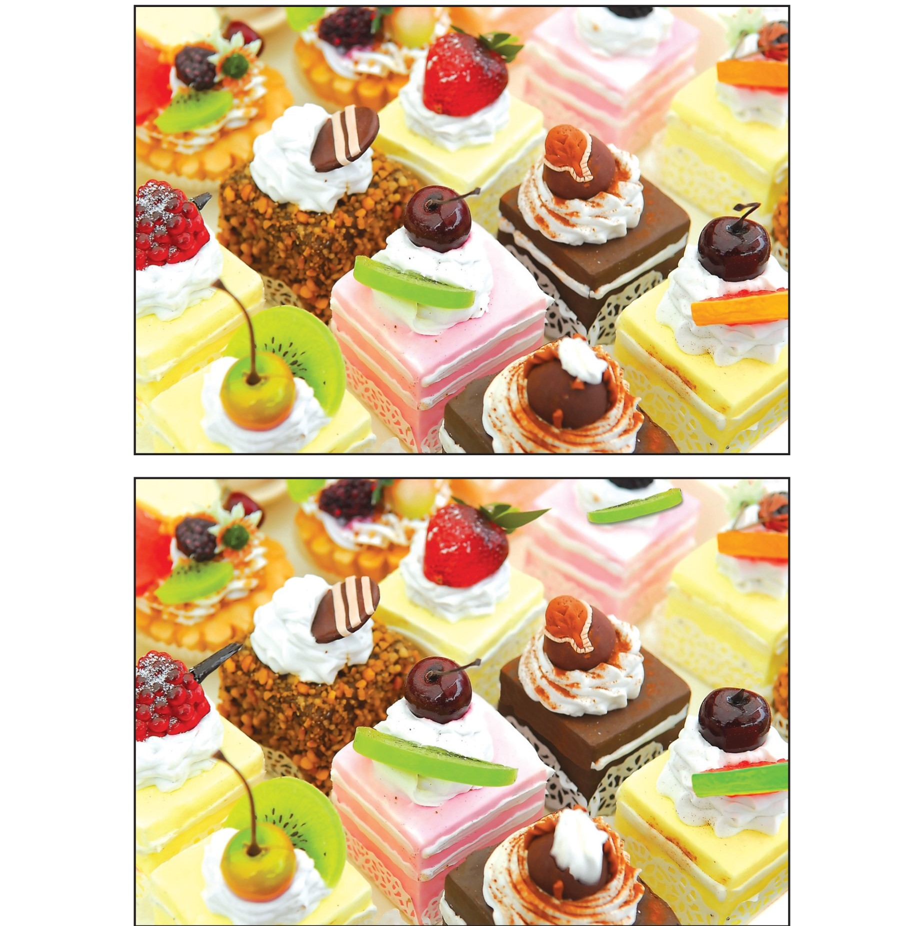 Two picture of petit four cakes with 9 differences between them.