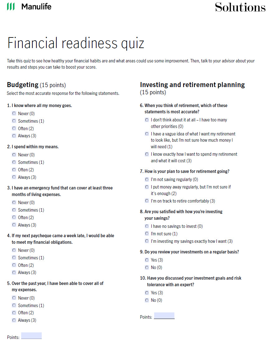 Image of financial readiness quiz. Click to open pdf in new window.