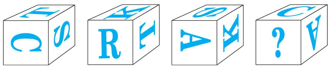 Block 1: sideways T on top, sideways S on side, sideways C on front. Block 2: sideways K on top, sideways T on side, right side up R on front. Block 3: sideways S on top, sideways K on side, sideways A on front.  Block 4: right side up C on top, upside down A on side, question mark on front.
