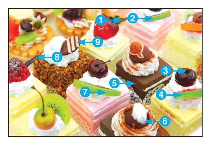 Une image des petits fours, avec les neuf différences indiquées.