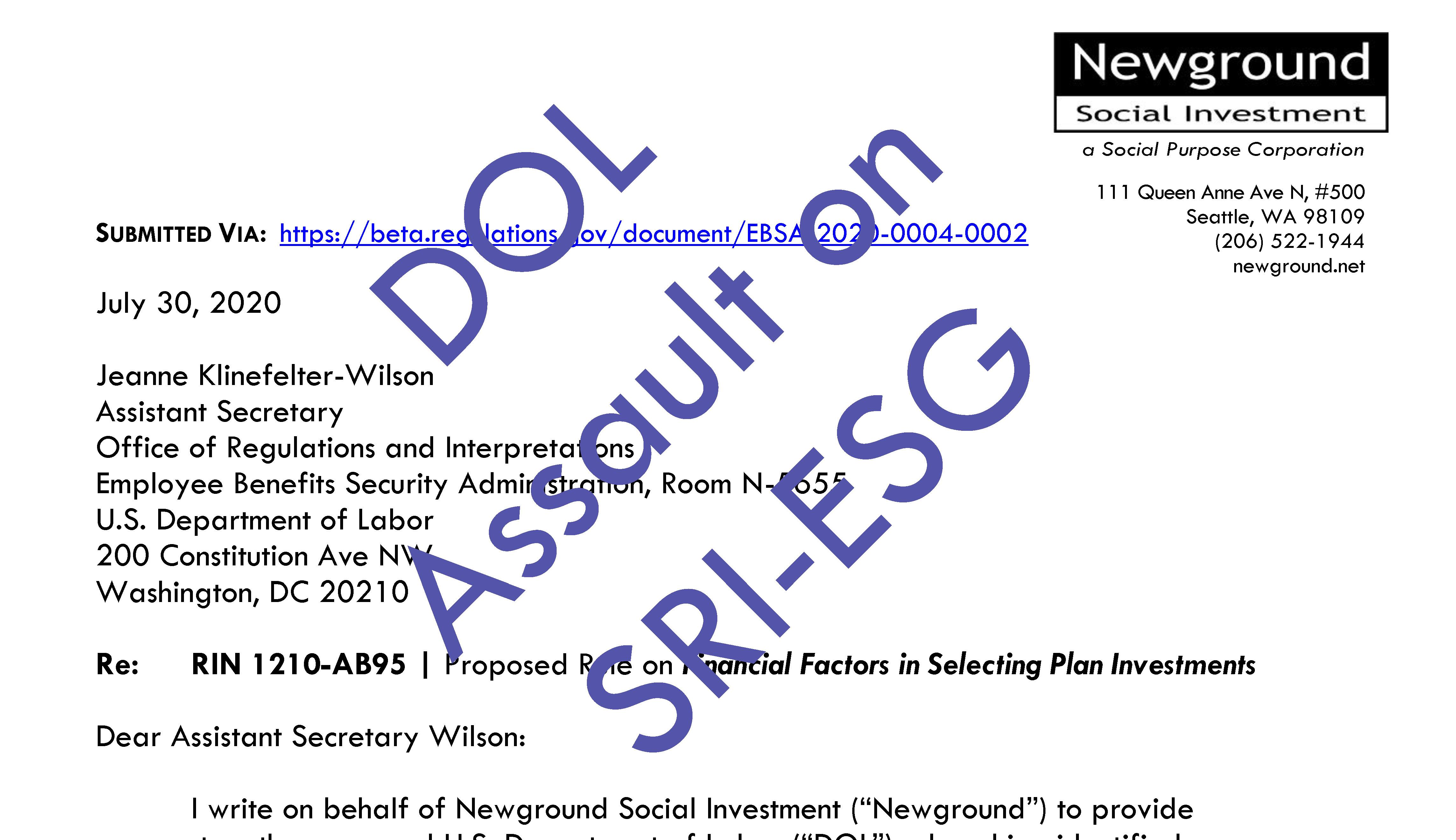 Newground's Public Comment on Labor Department Rule on ESG Investment Thumbnail