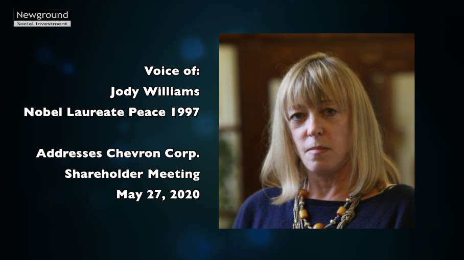 Nobel Peace Laureate Jody Williams addresses Chevron shareholder meeting Thumbnail