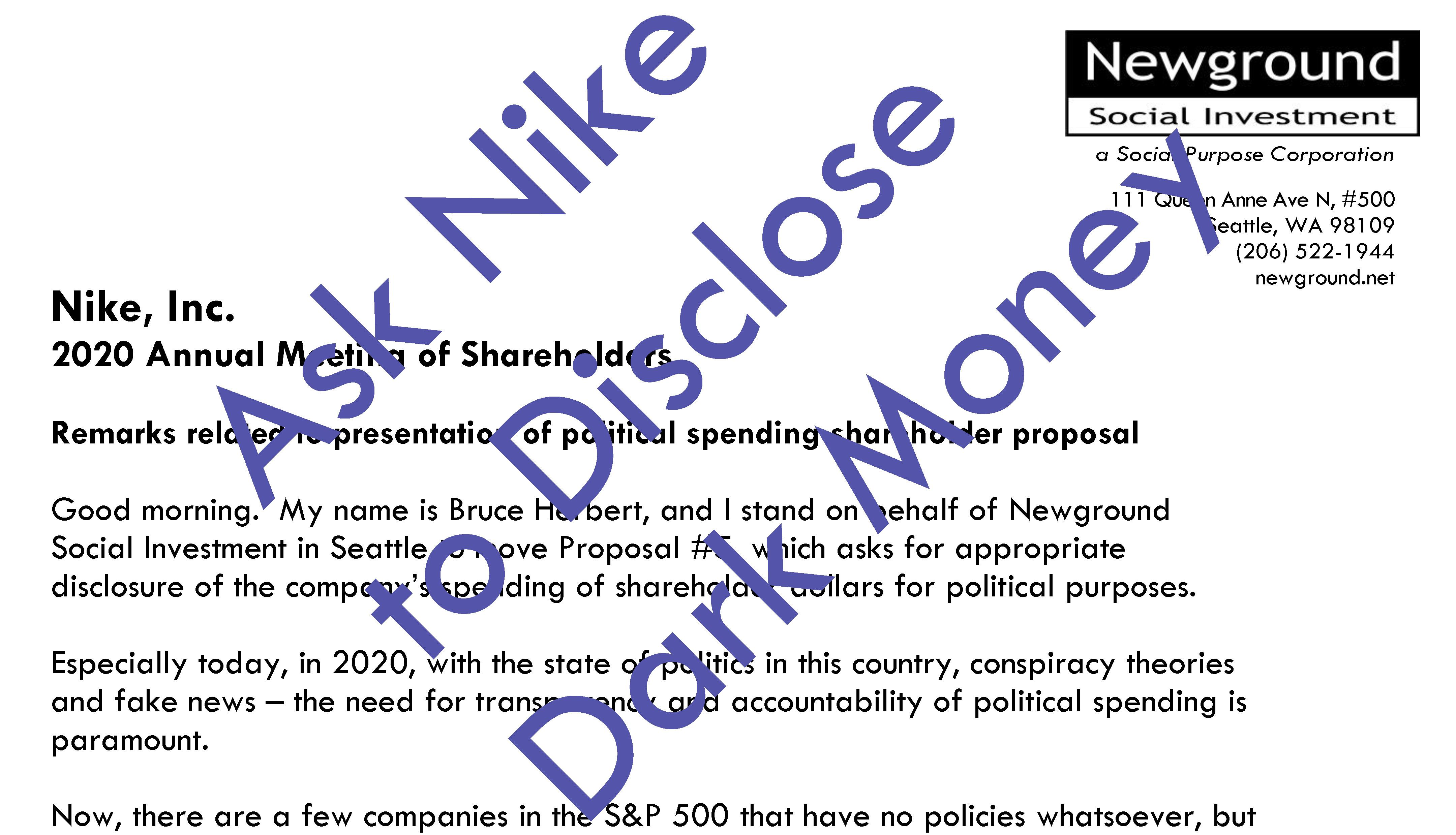 Nike Asked for Dark Money Disclosure Thumbnail