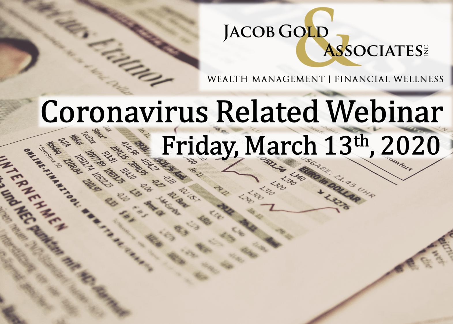 Coronavirus Related Webinar: March 13th, 2020 Thumbnail