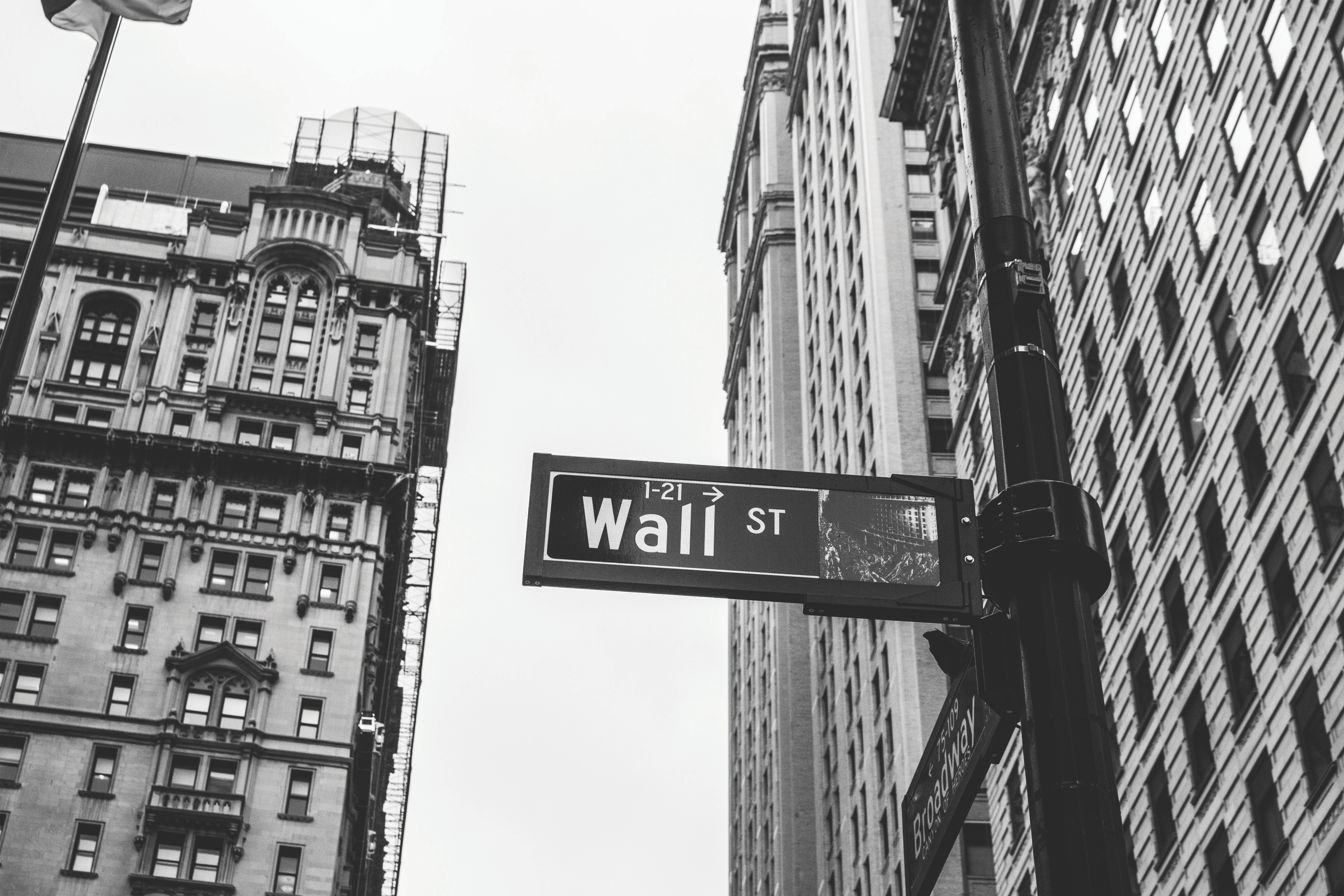 Black and White image of Wall Street sign in New York