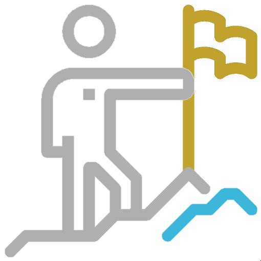 icon of a person climbing a mountain holding a flag