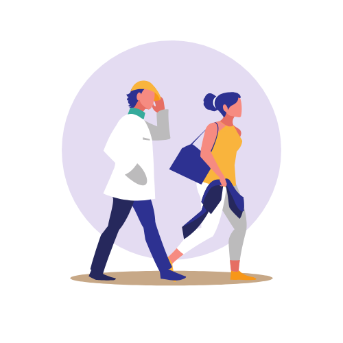 Professional Male and Female Walking