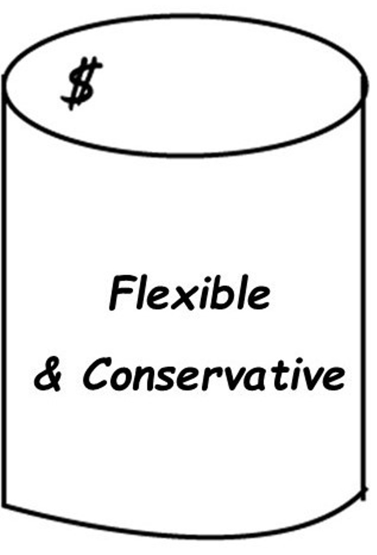 Flexible and conservative money bucket icon