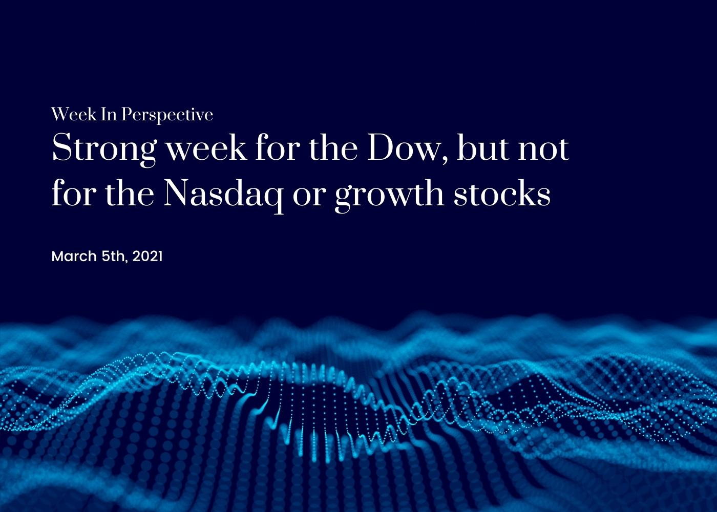 Week In Perspective March 5, 2021: Strong week for the Dow, but not for the Nasdaq or growth stocks Thumbnail