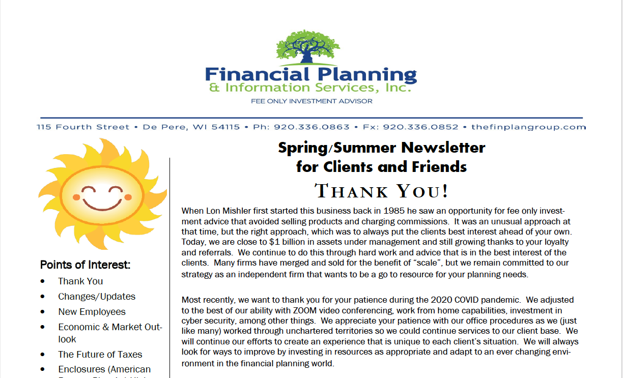 Spring/Summer Newsletter for Clients and Friends Thumbnail
