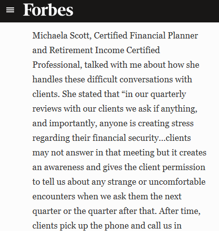 Michaela Quoted in Forbes on the subject of Financial Elder Abuse Thumbnail