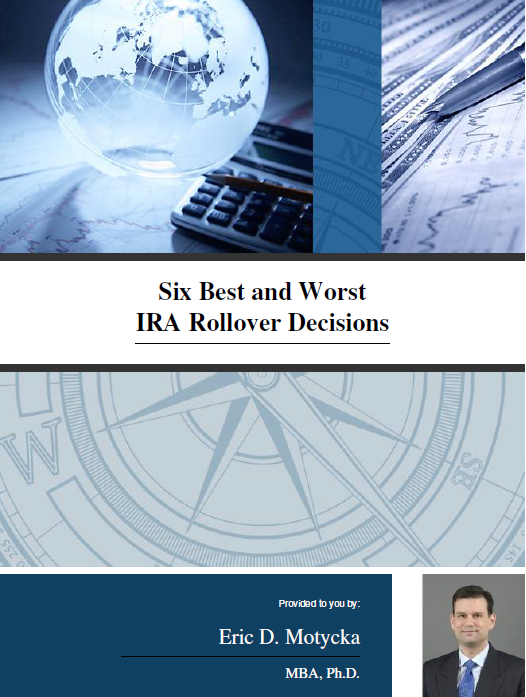 "Cover of the book ""Six Best and Worst IRA Rollover Decisions"""