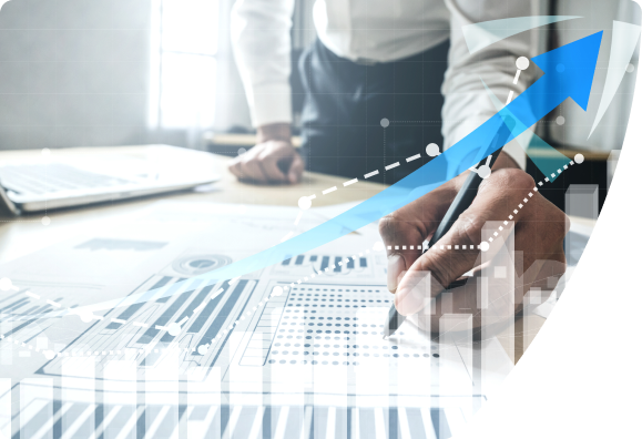 Business person analyzing chart data